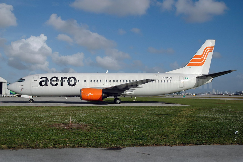 Aero Contractors (Nigeria) Boeing 737-4B7 N436US (5N-BIZ) (msn 24558) MIA (Bruce Drum). Image: 100007.