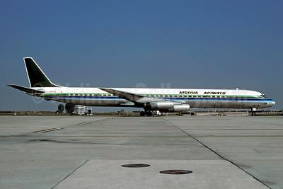 Nigeria Airways (Loftleidir Icelandic) McDonnell Douglas DC-8-63CF TF-FLC (msn 46049) (Saudia colors) CDG (Christian Volpati). Image: 909080.