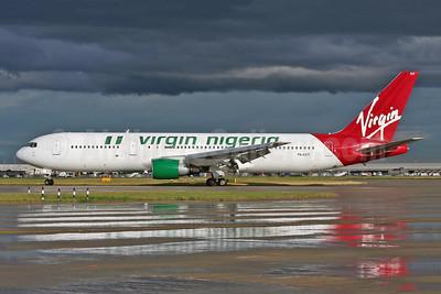 Virgin Nigeria Airways (LAT Charter) Boeing 767-3Y0 ER YL-LCY (msn 24952) LHR (Wingnut). Image: 900438.