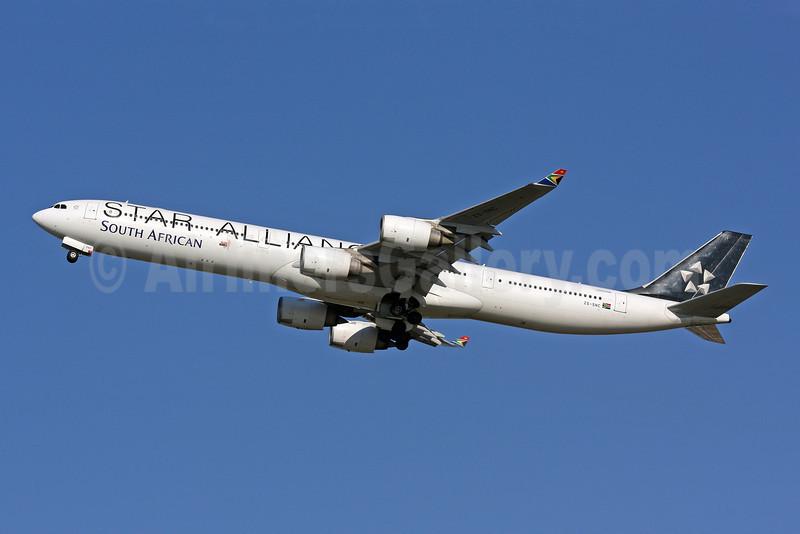 South African Airways Airbus A340-642 ZS-SNC (msn 426) (Star Alliance) IAD (Brian McDonough). Image: 907082.