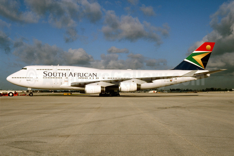 South African Airways Boeing 747-444 ZS-SAK (msn 28468) MIA (Bruce Drum). Image: 913320.