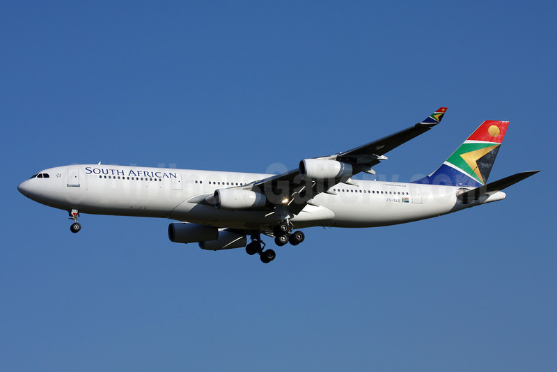 South African Airways Airbus A340-212 ZS-SLE (msn 021) GRU (Marcel F. De Biasi). Image: 900425.