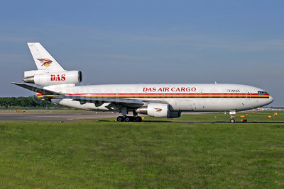 DAS Air Cargo - ANA Aviation Services McDonnell Douglas DC-10-30 (F) 5X-JOS (msn 46976) LGW (Antony J. Best). Image: 930508.
