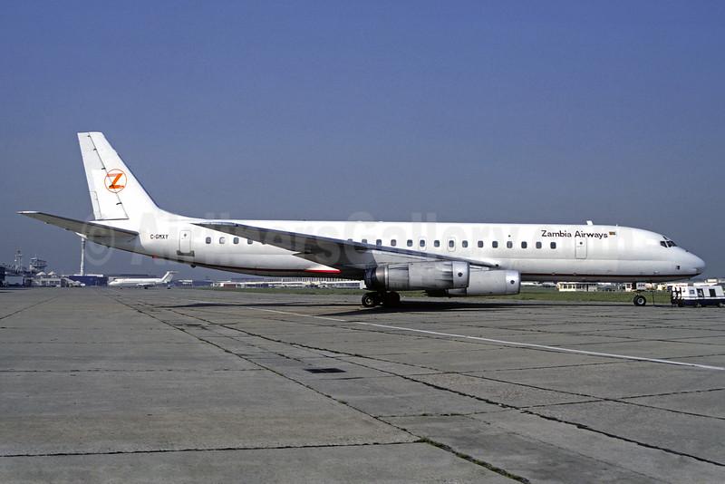 Zambia Airways (Nationair) McDonnell Douglas DC-8-62 C-GMXY (msn 45920) LBG (Christian Volpati). Image: 925890.