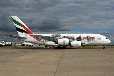 Emirates Airline Airbus A380-861 A6-EEI (msn 123) (United for Wildlife) LHR. Image: 934129.