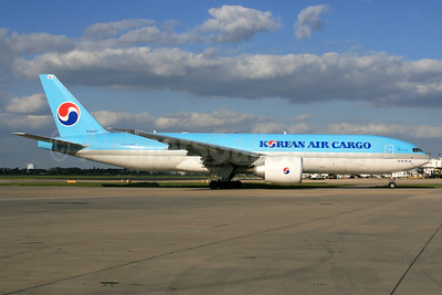 Korean Air Cargo Boeing 777-FB5 HL8005 (msn 37642) LHR. Image: 933012.