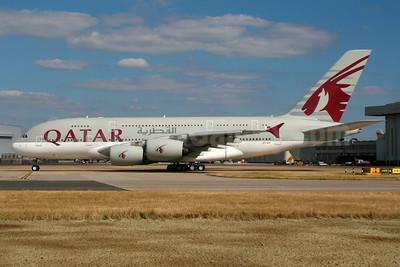 Qatar Airways Airbus A380-861 A7-APF (msn 189) LHR. Image: 934297.