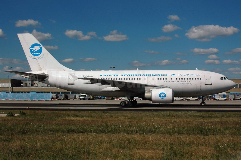 Ariana Afghan Airlines (Eagle Aviation) Airbus A310-304 F-GEMO (msn 504) FRA (Bernhard Ross). Image: 901350.