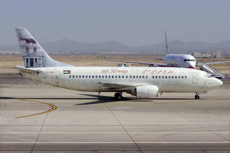 Safi Airways (Jordan Aviation) Boeing 737-322 JY-JAD (msn 24662) (Jordan Aviation colors) JED (Pepscl). Image: 934693.