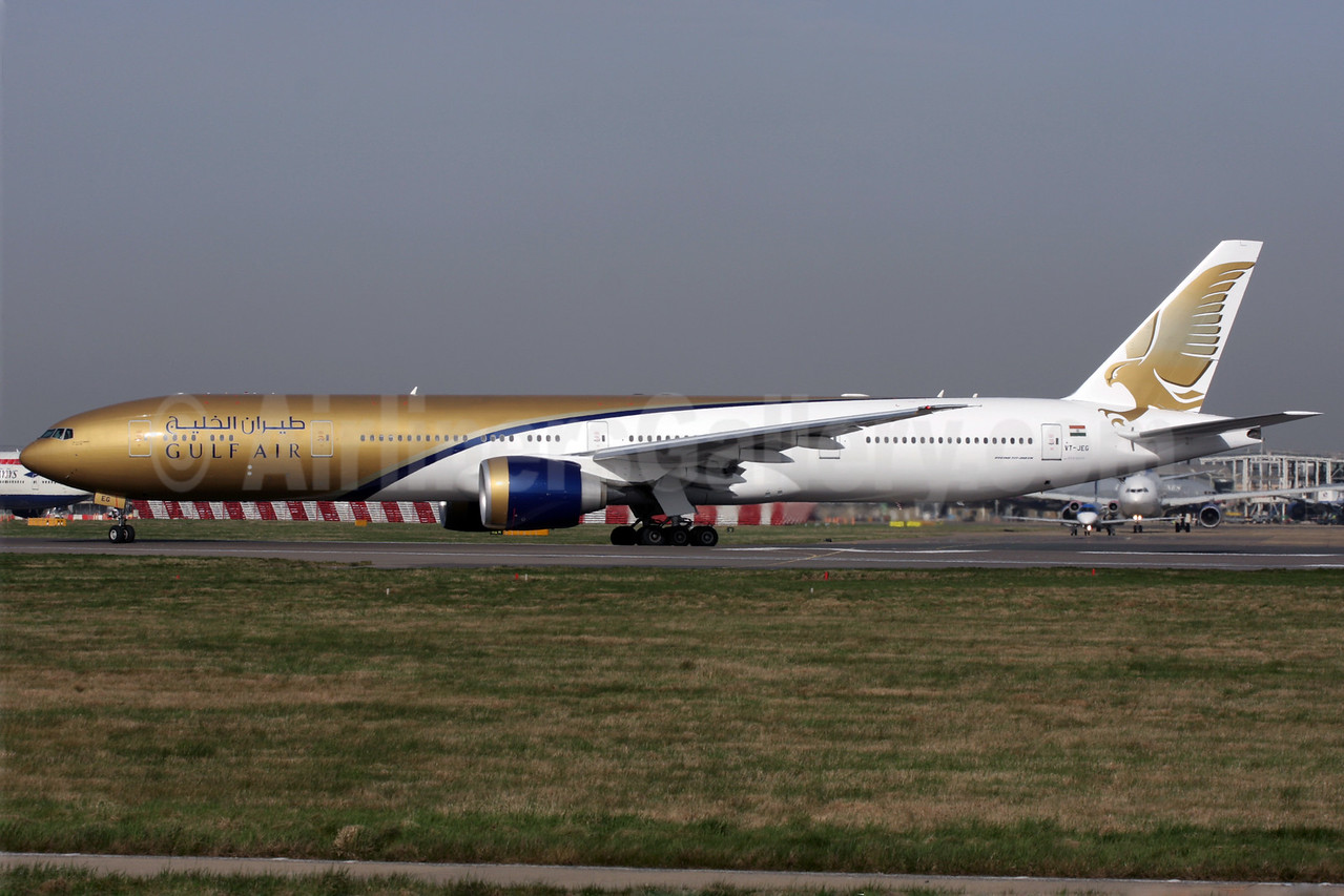 Gulf Air (Jet Airways) Boeing 777-35R ER VT-JEG (msn 35163) LHR (Antony J. Best). Image: 902531.