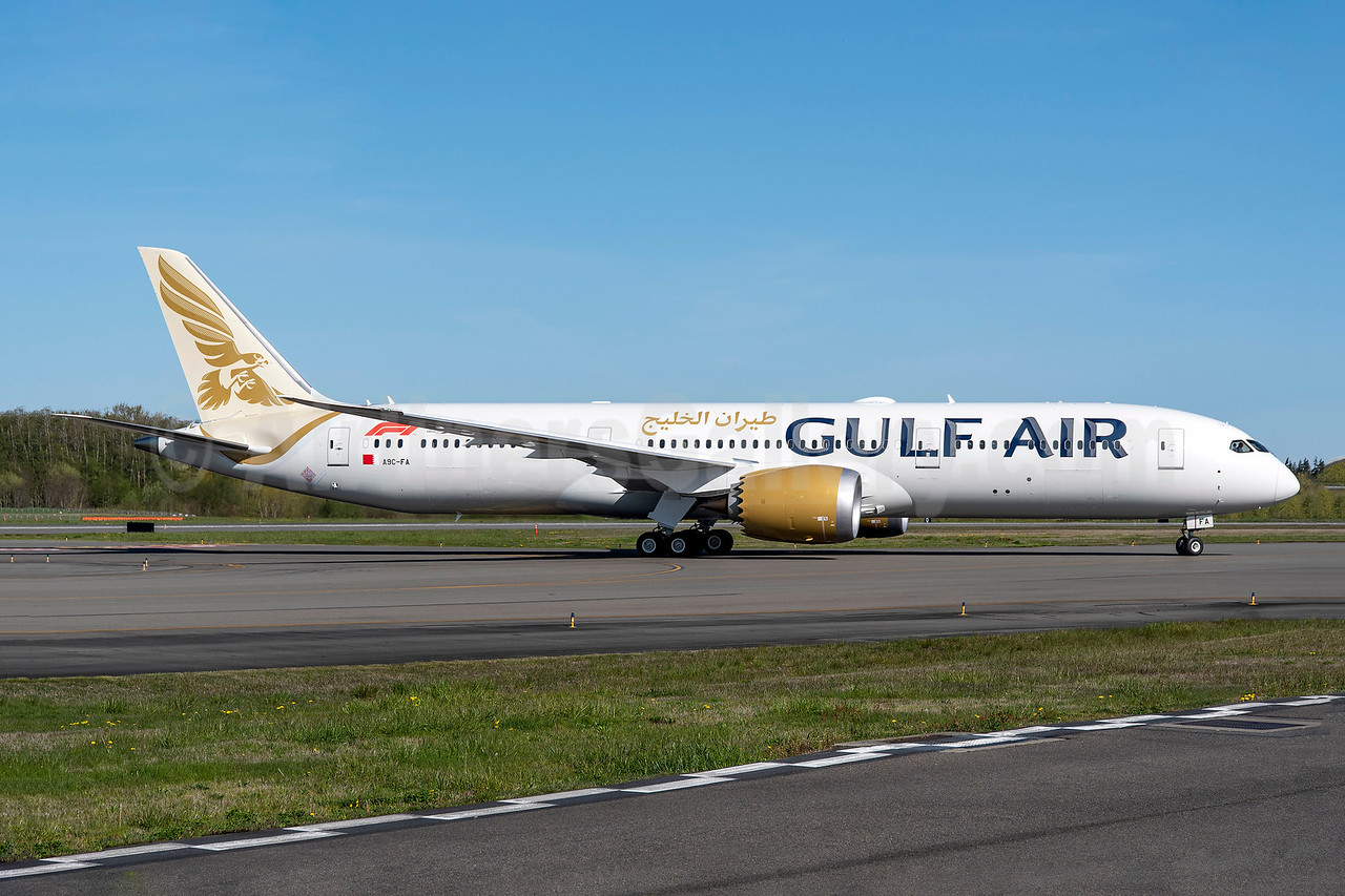 Gulf Air's first Boeing 787-9 Dreamliner, in full new livery