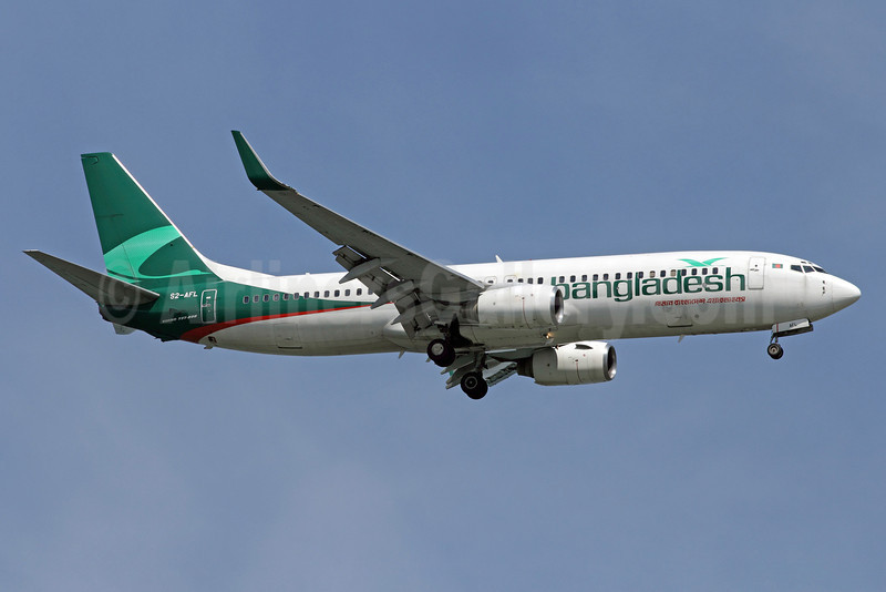 Bangladesh Airlines (Biman Bangladesh Airlines) Boeing 737-83N WL S2-AFL (msn 28648) SIN (Michael B. Ing). Image: 907329.