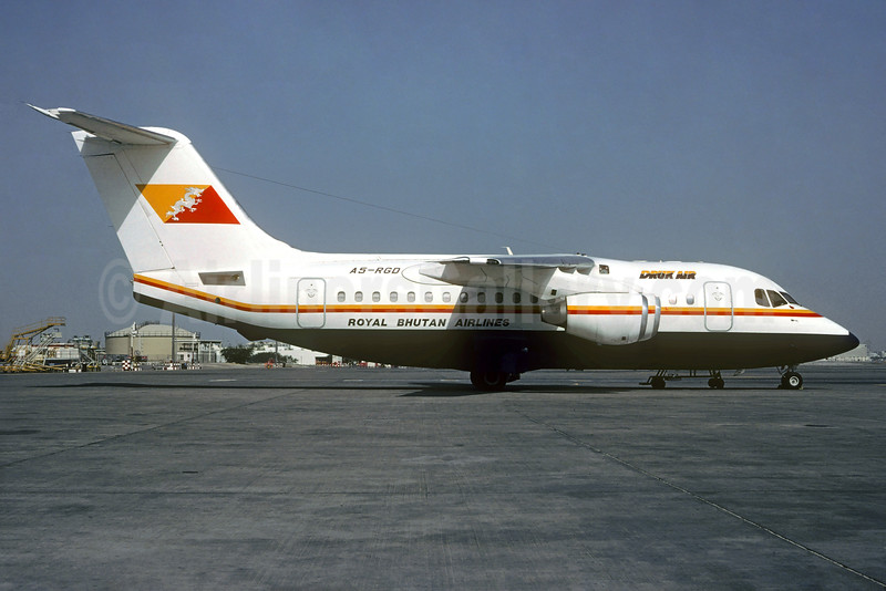 Druk Air-Royal Bhutan Airlines BAe 146-100 A5-RGD (msn E1095) BKK (Christian Volpati Collection). Image: 931961.