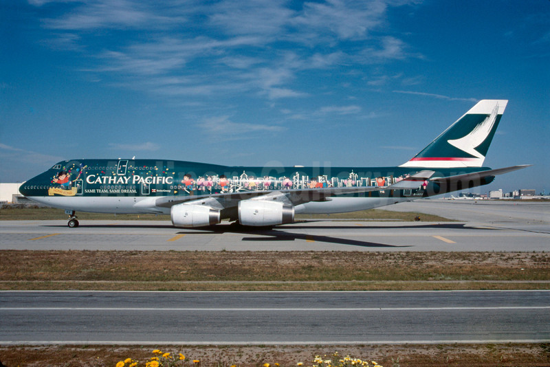 "Cathay Pacific Airways Boeing 747-467 B-HOX (msn 24955) ""Spirit of Hong Kong"" LAX (Roy Lock). Image: 913040."