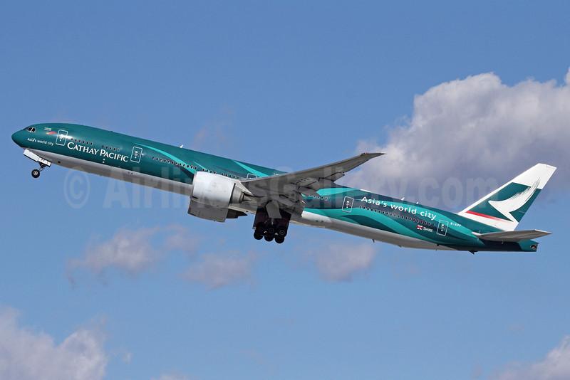 Cathay Pacific Airways Boeing 777-367 ER B-KPF (msn 36832) (Hong Kong-Asia's world city) LAX (Michael B. Ing). Image: 907043.