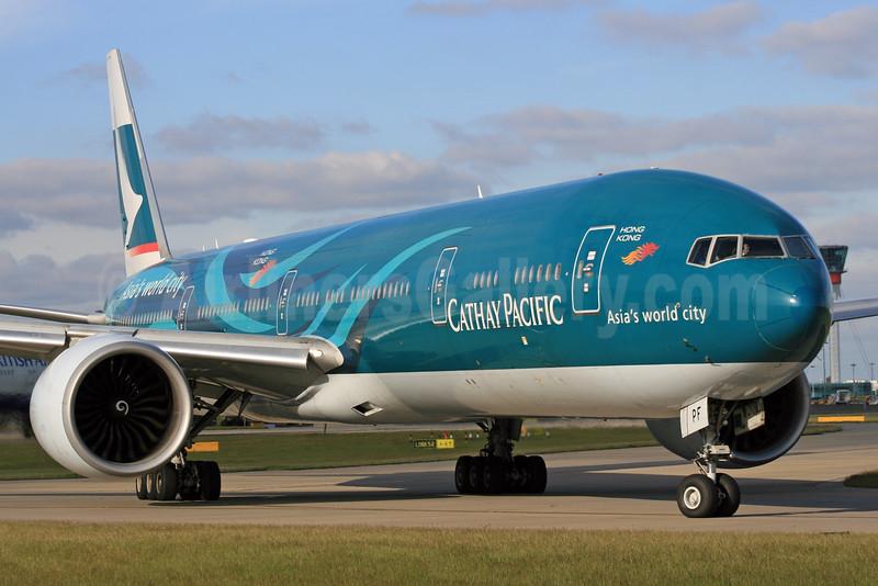 Cathay Pacific Airways Boeing 777-367 ER B-KPF (msn 36832) (Hong Kong-Asia's world city) LHR. Image: 924720.