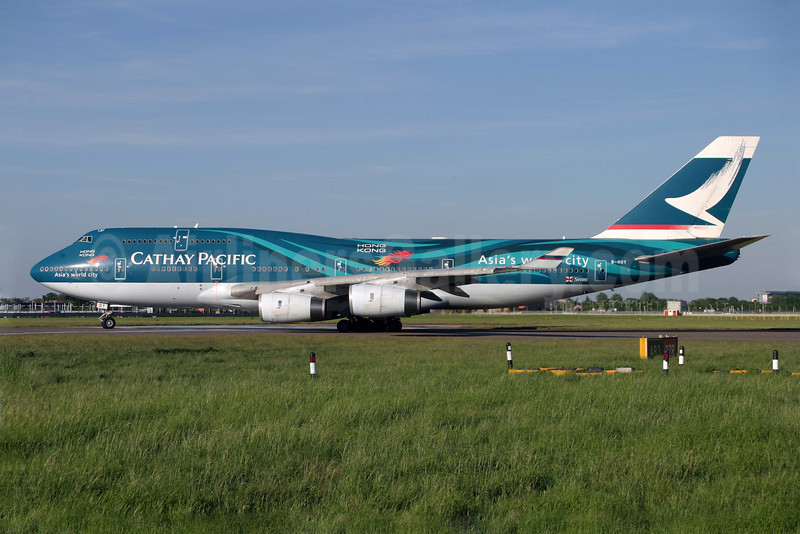 Cathay Pacific Airways Boeing 747-467 B-HOY (msn 25351) (Hong Kong-Asia's world city) LHR (Antony J. Best). Image: 900311.