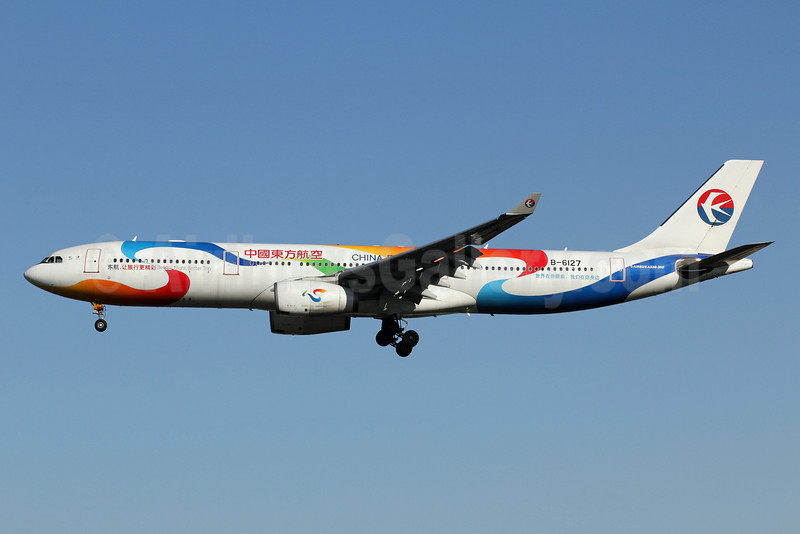 China Eastern Airlines Airbus A330-343 B-6127 (msn 781) (Better Flight, Better Trip) PEK (Michael B. Ing). Image: 907466.