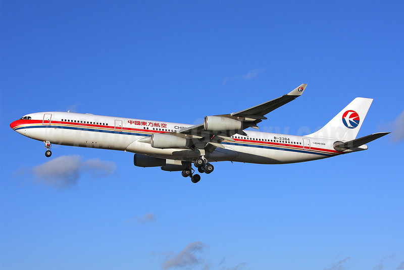 China Eastern Airlines Airbus A340-313 B-2384 (msn 182) LHR (Keith Burton). Image: 901858.