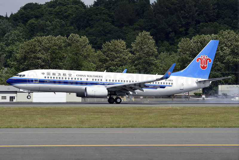 China Southern Airlines Boeing 737-81B WL B-1953 (msn 41320) BFI (Steve Bailey). Image: 923102.