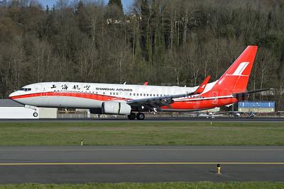 Shanghai Airlines Boeing 737-86D WL B-1741 (msn 39314) BFI (Steve Bailey). Image: 926606.