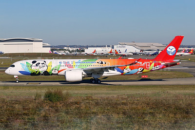 First flight October 27, 2017 in Panda livery, to be leased from AerCap