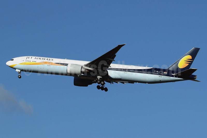 Jet Airways Boeing 777-35R ER VT-JEU (msn 35160) LHR (SPA). Image: 940945.