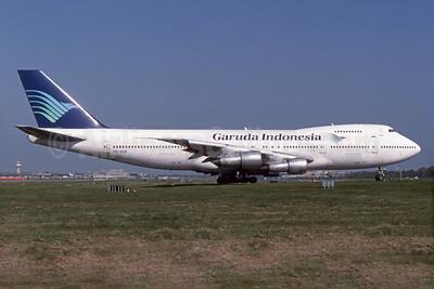 Garuda Indonesia Airways Boeing 747-2U3B PK-GSB (msn 22247) LGW (SPA). Image: 935995.