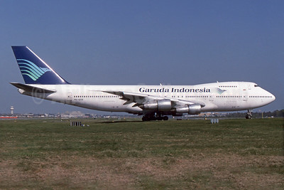 Garuda Indonesia Airways Boeing 747-2U3B PK-GSB (msn 22247) LGW (SPA). Image: 935995.
