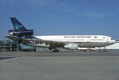 Garuda Indonesia Airways (World Airways) McDonnell Douglas DC-10-30 N115WA (msn 47818) (World Airways colors) ZRH (Christian Volpati Collection). Image: 937075.
