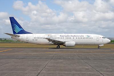 Garuda Indonesia Airways Boeing 737-4M0 PK-GZI (msn 29204) (Visit Indonesia 2008) DPS (Michael B. Ing). Image: 937080.