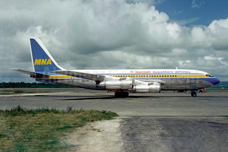 Merpati Nusantara Airlines Boeing 707-138B N107BN (msn 18739) DPS (Christian Volpati). Image: 922719.