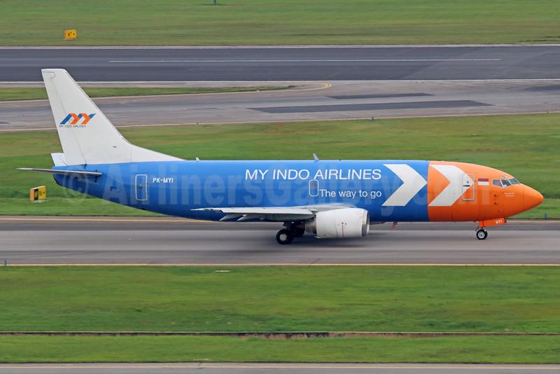My Indo Airlines Boeing 737-3Z0 (F) PK-MYI (msn 23448) SIN (Michael B. Ing). Image: 934824.