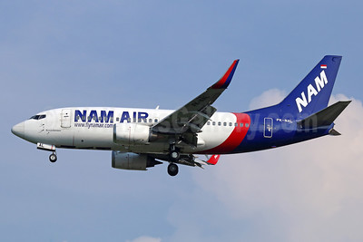 NAM Air Boeing 737-524 WL PK-NAL (msn 27527) (Sriwijaya Air colors) CGK (Michael B. Ing). Image: 934009.