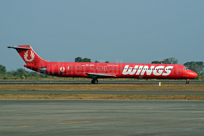 "Wings' special red ""Fly is Cheap"" livery"