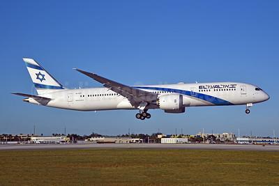 El Al Israel Airlines Boeing 787-9 Dreamliner 4X-EDE (msn 63393) MIA (Bruce Drum). Image: 105227.