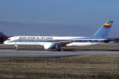 Sun d'Or International Airlines Boeing 757-258 4X-EBT (msn 25036) (El Al colors) GVA (Christian Volpati Collection). Image: 928728.