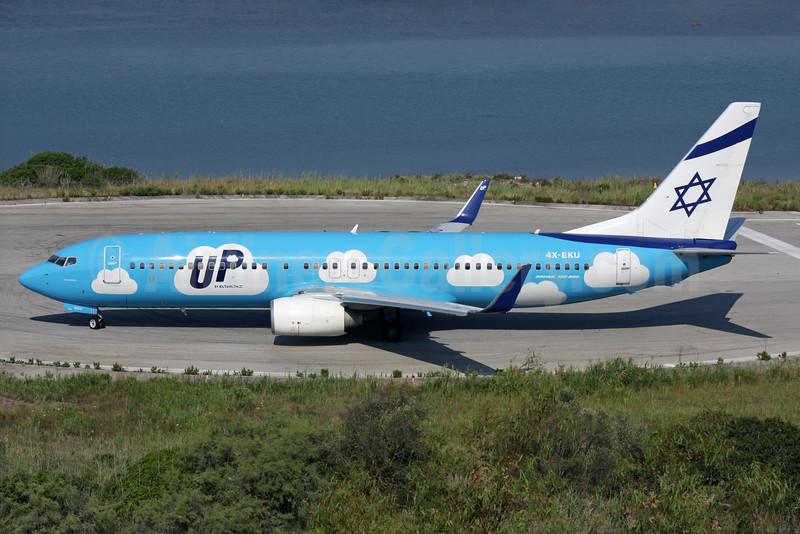 Up by El Al (El Al Israel Airlines) Boeing 737-8Z9 WL 4X-EKU (msn 33834) CFU (Antony J. Best). Image: 928726.