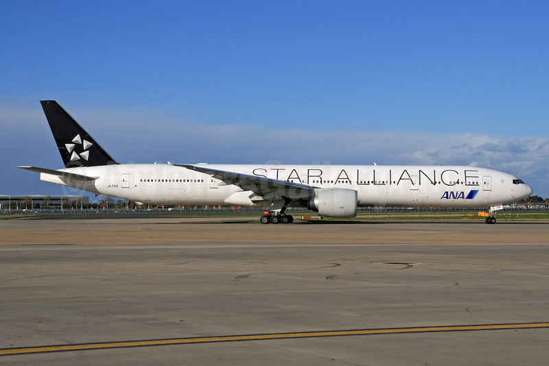ANA (All Nippon Airways) Boeing 777-381 ER JA731A (msn 28281) (Star Alliance) LHR (SPA). Image: 927077.