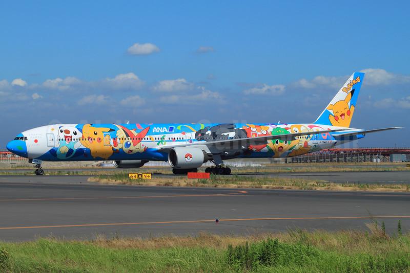 ANA (All Nippon Airways) Boeing 777-381 JA754A (msn 27939) (ANA Peace Jet-Pokemon 2011) HND (YK). Image: 906822.