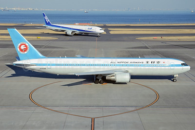 All Nippon Airways (ANA) Boeing 767-381 JA602A (msn 27944) (1969 retrojet) HND (Nik French). Image: 923358.