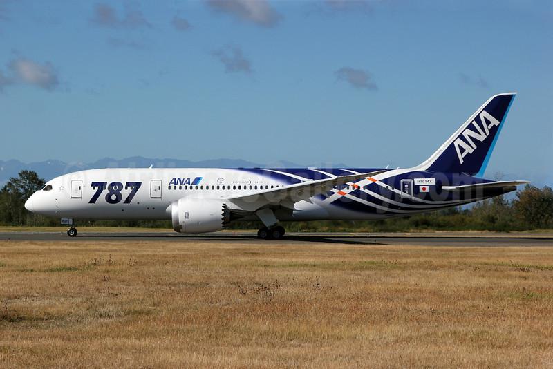 ANA (All Nippon Airways) Boeing 787-8 Dreamliner N1014X (JA802A) (msn 34497) (Dreamliner special colors) PAE (Nick Dean). Image: 907333.