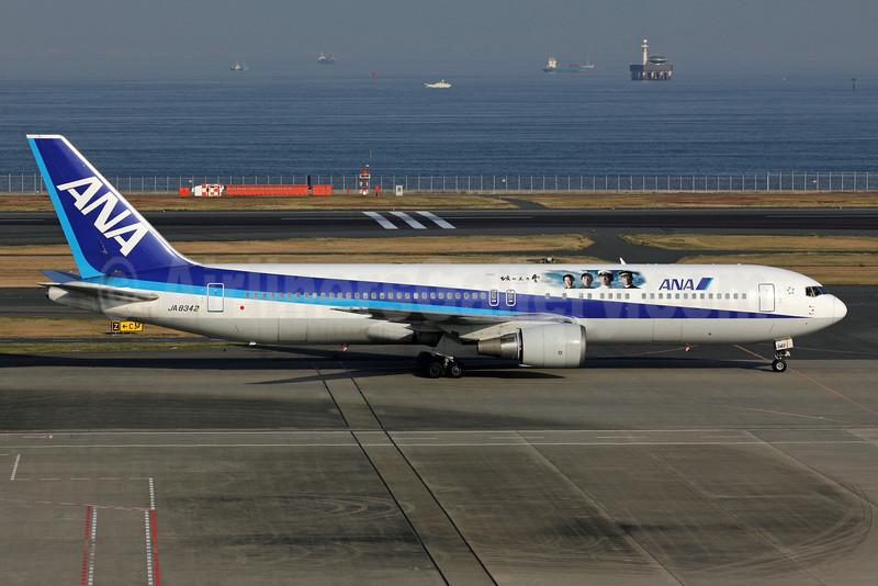 ANA (All Nippon Airways) Boeing 767-381 JA8342 (msn 27445) (NHK Cloud over the Hill) HND (Michael B. Ing). Image: 907599.