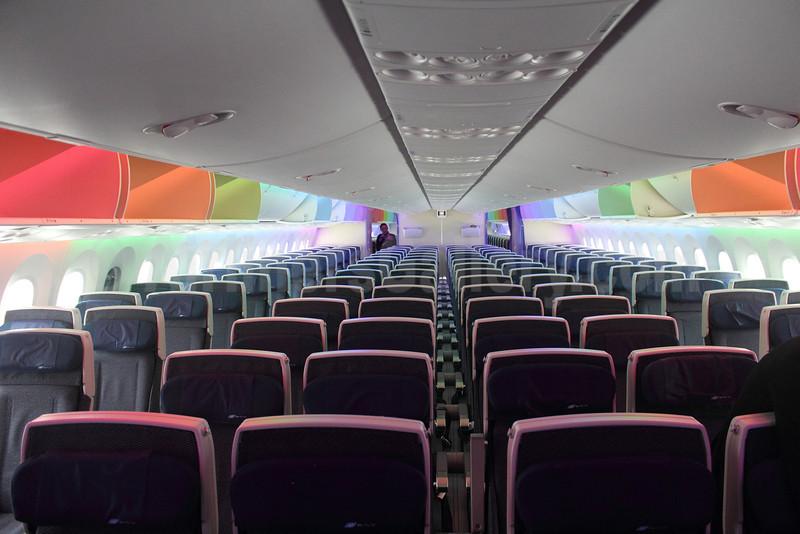 ANA (All Nippon Airways) Boeing 787-8 Dreamliner JA802A (msn 34497) (cabin mood lighting) (Michael B. Ing). Image 907376.