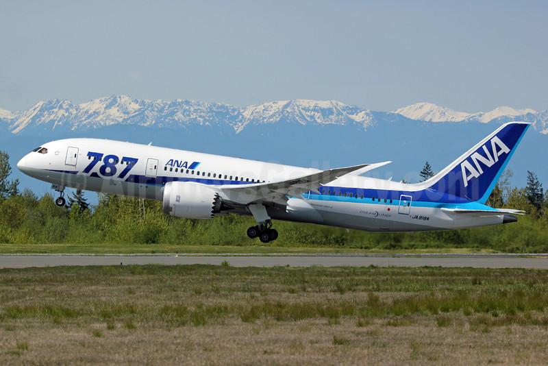 """ANA (All Nippon Airways) Boeing 787-8 Dreamliner JA818A (msn 42243) """"787"""" PAE (Nick Dean). Image: 911989."""