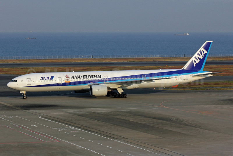 ANA (All Nippon Airways) Boeing 777-381 JA755A (msn 28275) (ANA x Gundam) HND (Michael B. Ing). Image: 907600.