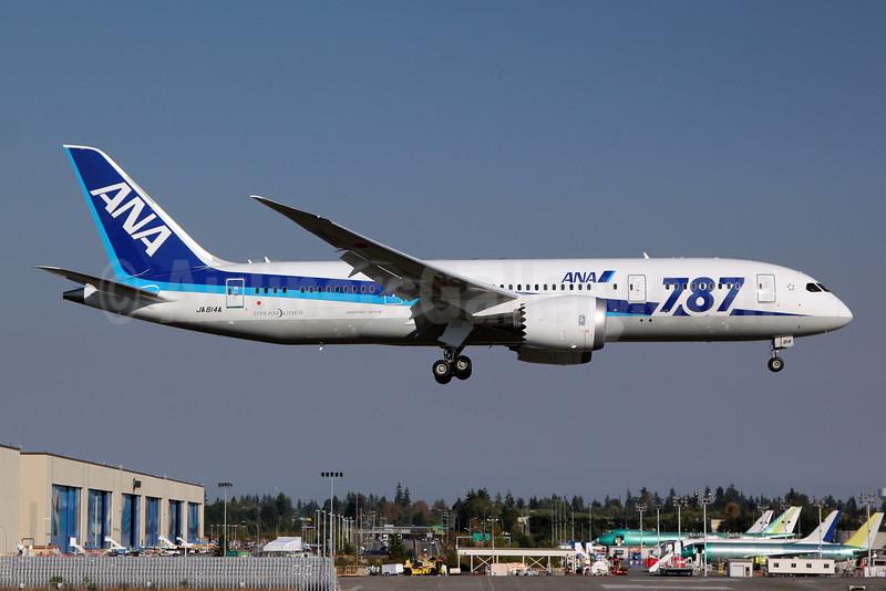 """ANA (All Nippon Airways) Boeing 787-8 Dreamliner JA814A (msn 34493) """"787"""" PAE (Nick Dean). Image: 909347."""