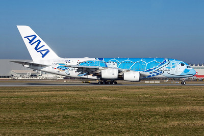 ANA's first Airbus A380 on first flight, in Lani livery, to become JA381A