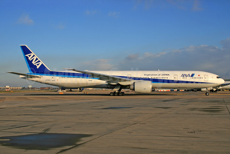 ANA (All Nippon Airways) Boeing 777-381 ER JA784A (msn 37950) (Inspiration of Japan) LHR. Image: 928011.