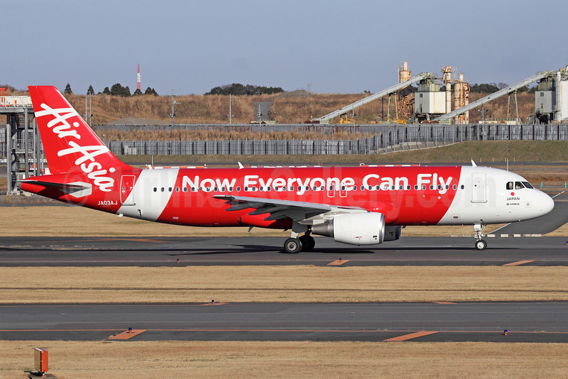 AirAsia (Japan) Airbus A320-216 JA03AJ (msn 5325) (Now Everyone Can Fly) NRT (Michael B. Ing). Image: 912559.